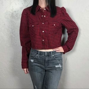 Wild Fable Red & Black Cropped Flannel